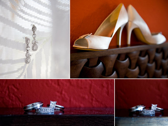 Bridal style wedding details- dangling diamond bridal earrings, ivory peep toe heels, square diamond