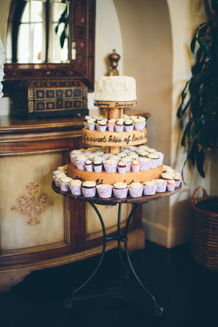 Cupcake Tower with White Floral Cake Topper