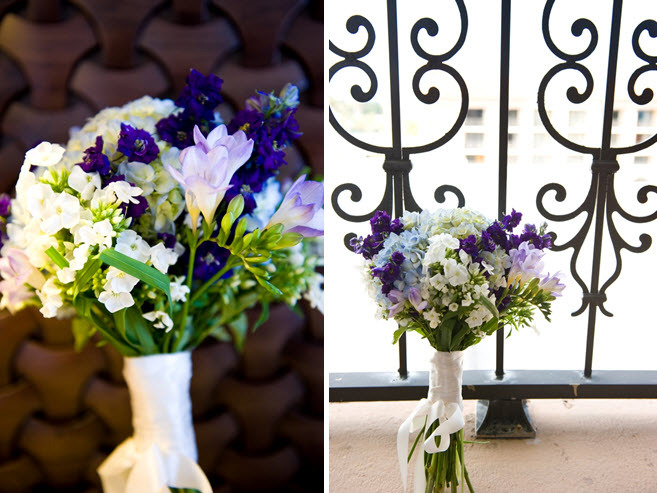 Simple and chic wedding flowers- purple, white, and green floral bridal bouquet