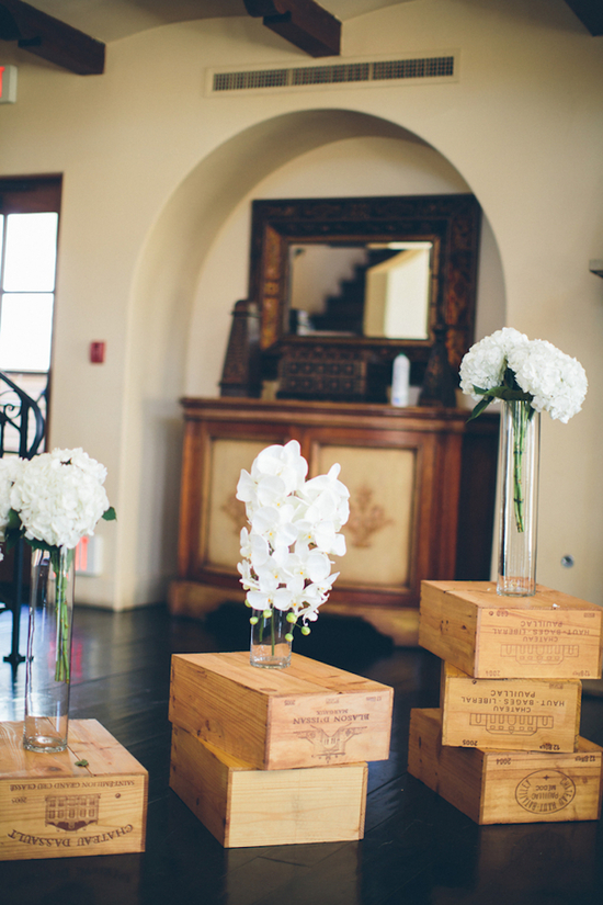 White Florals on Rustic Wooden Boxes