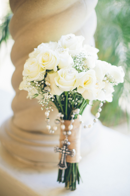 White Roses and Babys Breath Bouquet with Rosary Draped