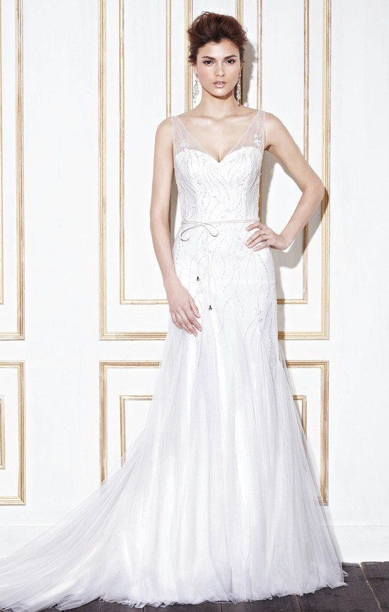 v-neck-chapel-train-tulle-a-line-wedding-dress