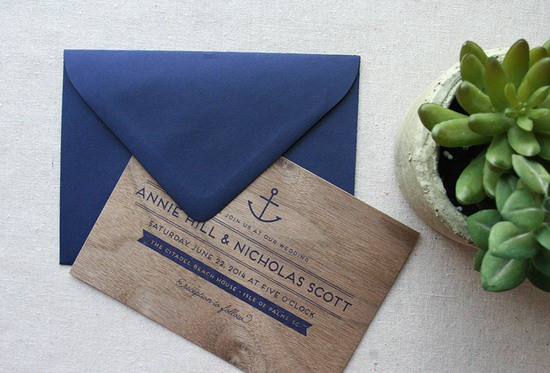 Nautical and Wood Invitations