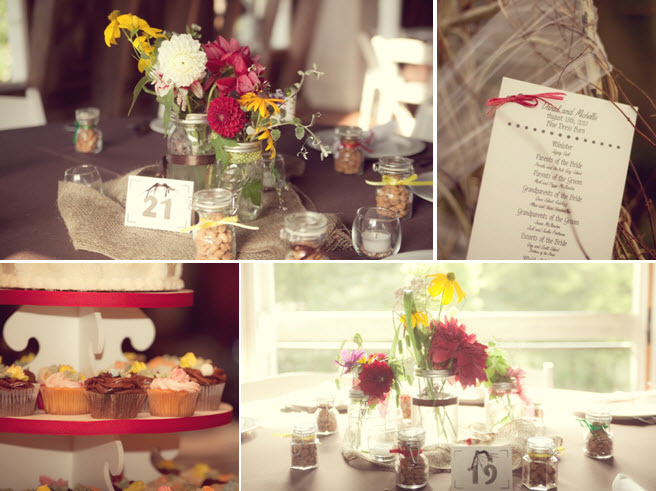 Rustic-country-wedding-decor-details-reception-floral-centerpieces-yellow-ivory-red-wild-flowers-mason-jars-for-vases-cupcake-tree.full