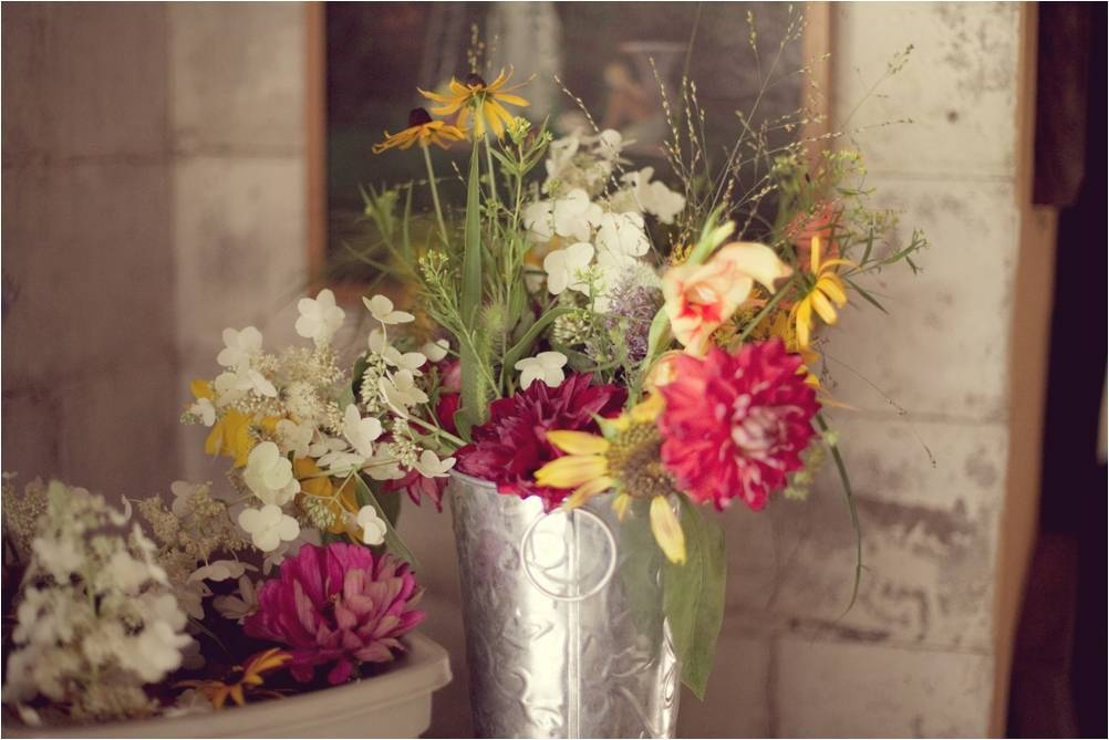 Rustic wedding flowers yellow ivory red pink wild
