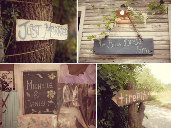 Personalized rustic wedding touches- wood Just Married signs, and chalkboard decor