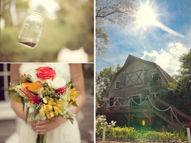 Rustic outdoor wedding at a barn in Michigan; coral, orange, yellow, ivory bridal bouquet