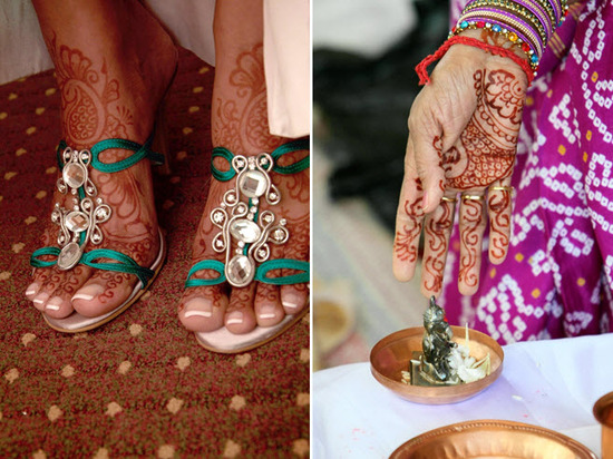 Bride wears strappy aqua bridal sandals with rhinestone details, beautiful henna on feet and hands