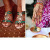 Traditional-indian-wedding-henna-on-bride-strappy-sandals-bridalheels-colorful-vibrant-wedding-color-palette-traditions-at-ceremony.square