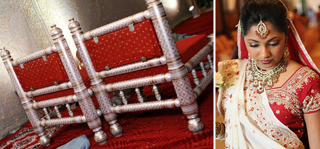 Deep red and gold ceremony chairs for Indian bride and groom