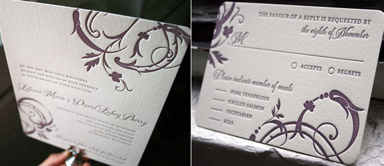 Rich eco-chic letterpress wedding invitations by Bella Figura