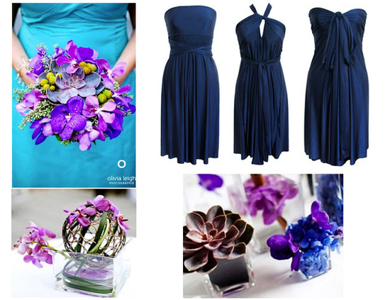 Rich jewel tones like deep purple and blue are perfect for a eco-chic fall wedding
