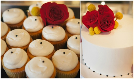 Classy White Black And Red Rose Cupcakes