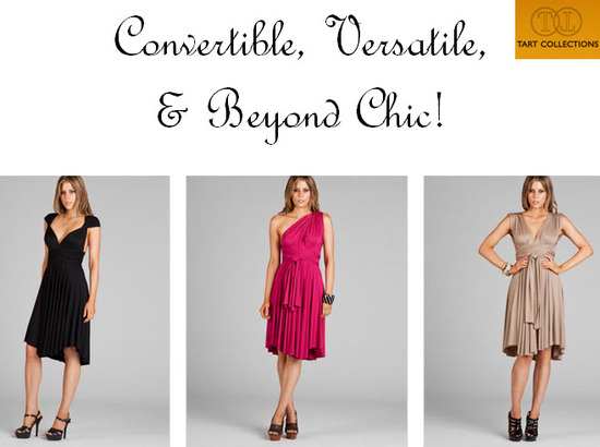 Black, taupe and rasberry convertible Infinity dresses from Tart Collection