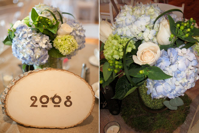 Organic floral centerpiece for wedding reception- light blue hydrangeas, ivory roses, green details