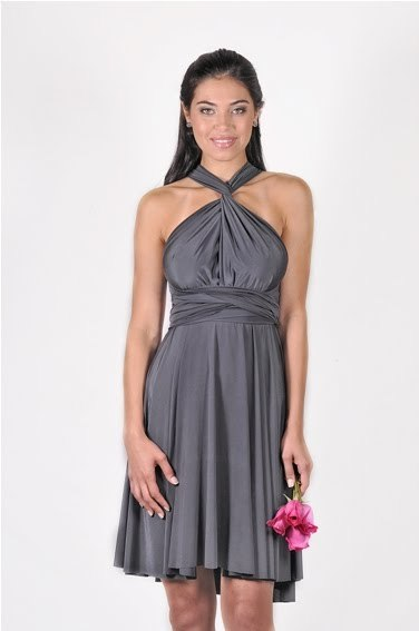 Pewter grey convertible bridesmaids dress that you can wear 12 different ways!