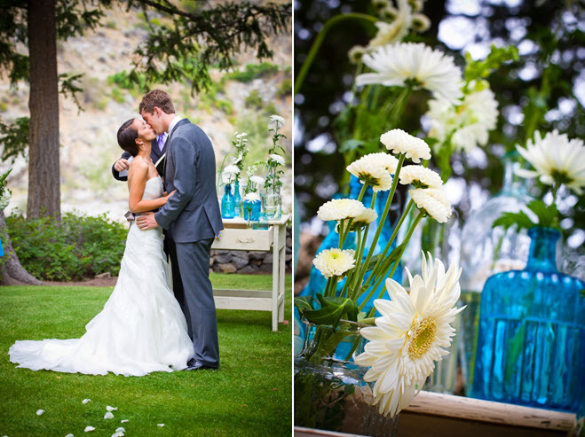 Bride And Groom Kiss After Saying I Do White Green Aqua Wedding Reception Centerpieces