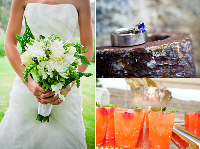 Casual-outdoor-wedding-white-ivory-green-bridal-bouquet-orange-signature-drinks.full