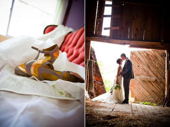 White wedding dress lays on red vintage couch; bride groom kiss in rustic barn