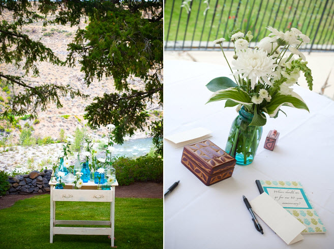 Casual Backyard Wedding Decoration Ideas : Outdoor casual wedding decor flowers white green blue color palette