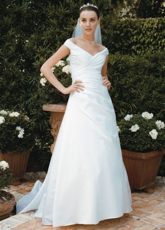 Side Draped Bodice with Off The Shoulder Sleeves