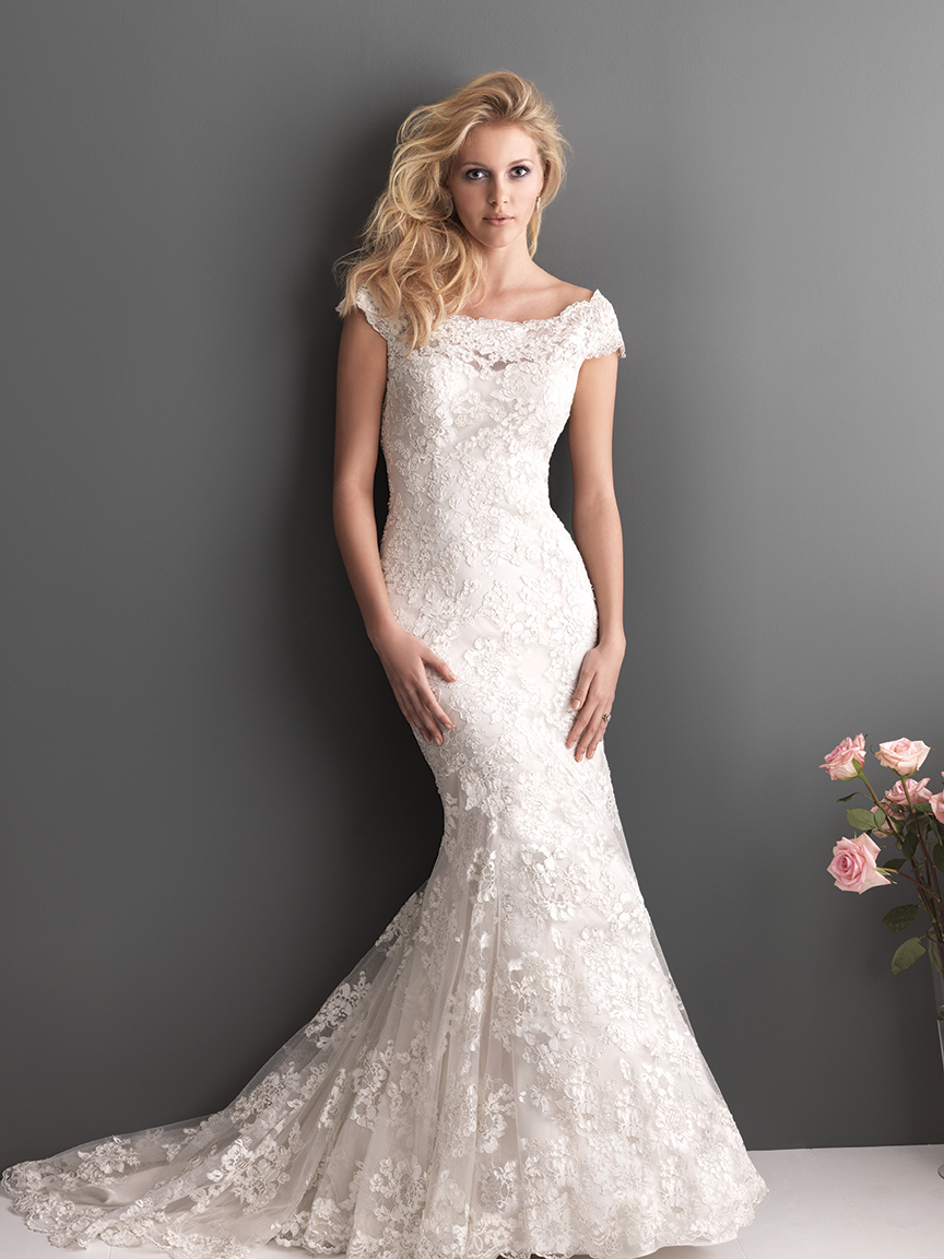 Slim fitted lace gown with off the shoulder sleeves for Lace off the shoulder wedding dresses