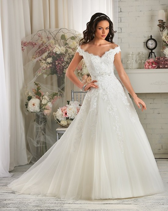 A Line Wedding Dress with Scalloped Off the Shoulder Sleeves