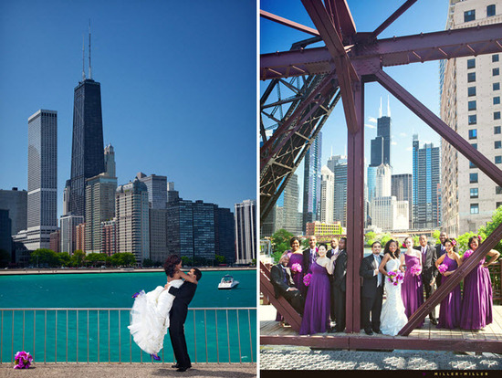 Groom lifts bride in white strapless wedding dress with Chicago city skyline in background