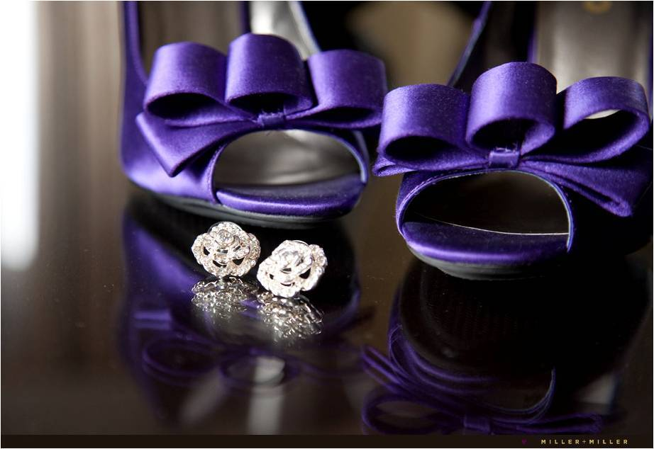 peep-toe bridal heels in deep purple diamond stud bridal earrings
