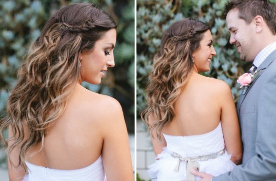 Small Braid on Long Curly Ombre Hair