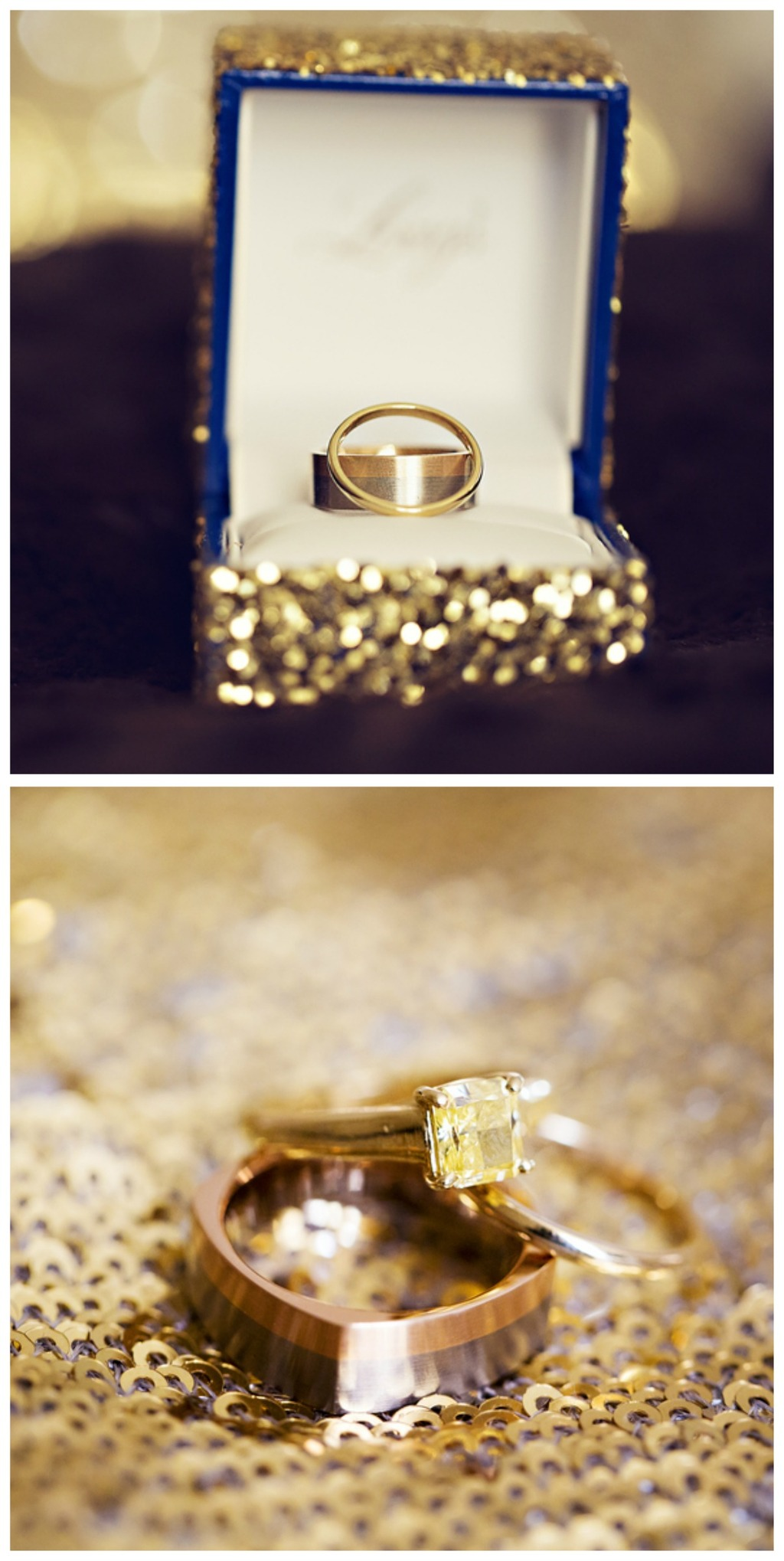 Glitz and Gold Wedding Rings