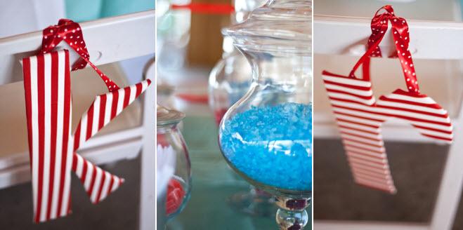 Red-white-aqua-blue-diy-outdoor-wedding-candy-bar-at-wedding-reception.full