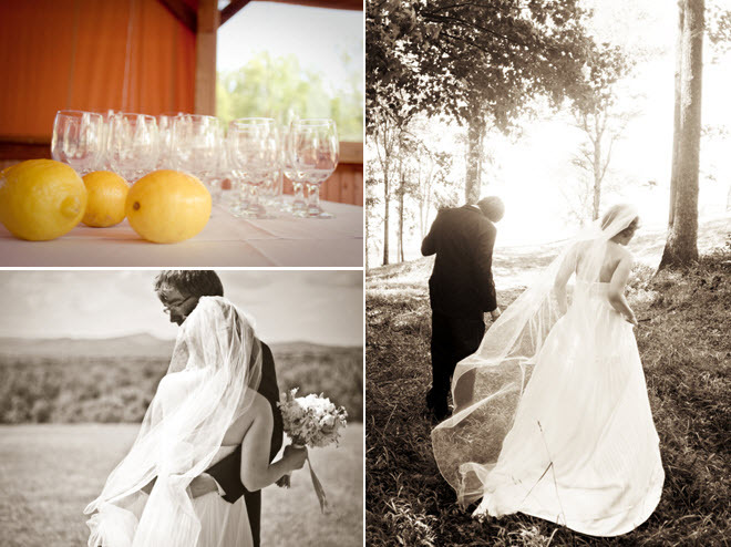 Black-and-white-sepia-artistic-wedding-photos-bride-groom-walk-through-forest-casual-chic-wedding-decor-vibrant-lemons.full