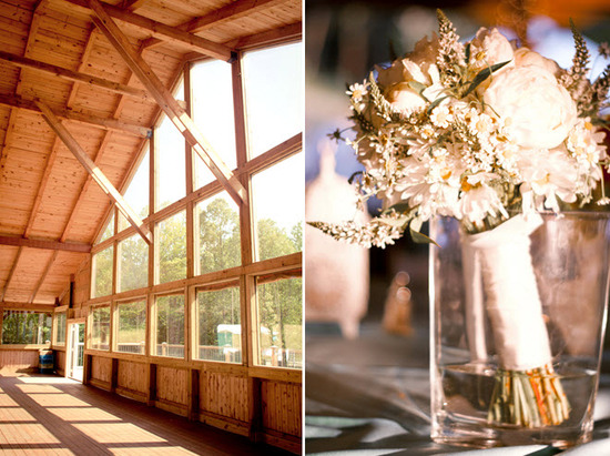 Rustic Virgina wedding venue with a lodge feel; assorted ivory wildflowers for bridal bouquet