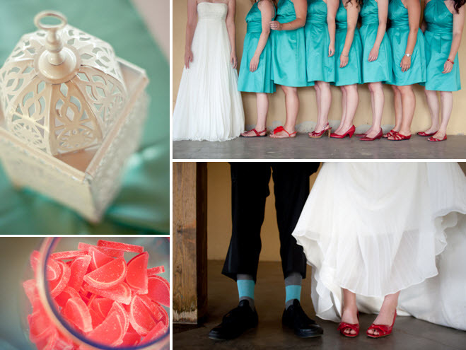Red-bridal-shoes-bridesmaids-shoes-peep-toe-teal-bridesmaids-dresses-watermelon-candy-bar-vibrant-diy-wedding.full