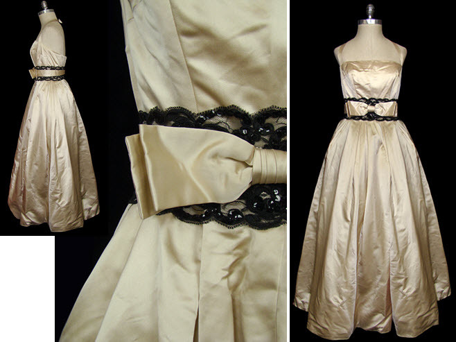 Vintage-wedding-dresses-christian-dior-ivory-satin-lace-trimmed-embellishment-black-bow-detail.full