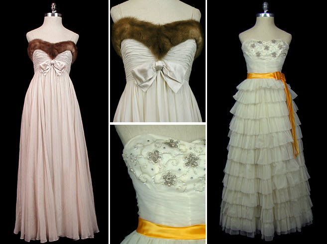 Vintage-wedding-dresses-silk-chiffon-ivory-mink-trimmed-sweetheart-neckline-ruffled-tiers.full