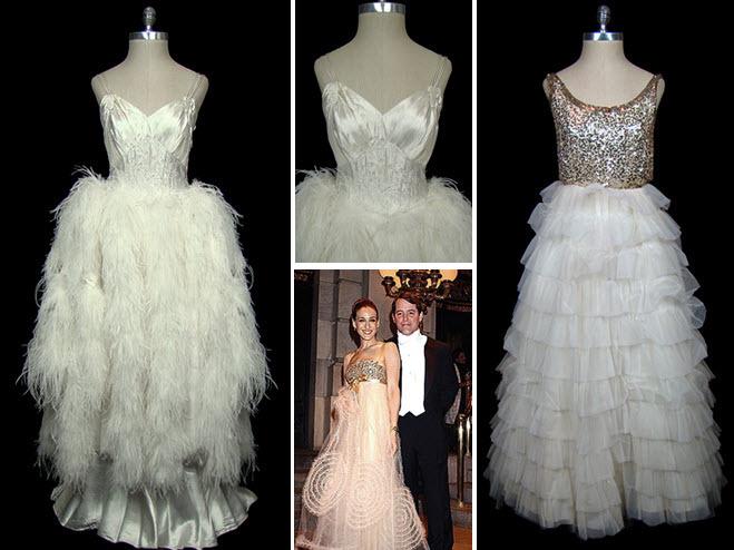 Satin and ostrich feather vintage wedding dress christian for Jessica designs international wedding dresses