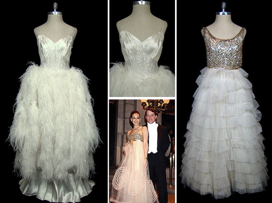 Satin and Ostrich feather vintage wedding dress; Christian Dior beaded bodice vintage wedding dress