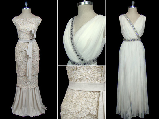 Ivory scalloped lace Valentino wedding dress c. 1970; chiffon Grecian goddess sheath wedding dress
