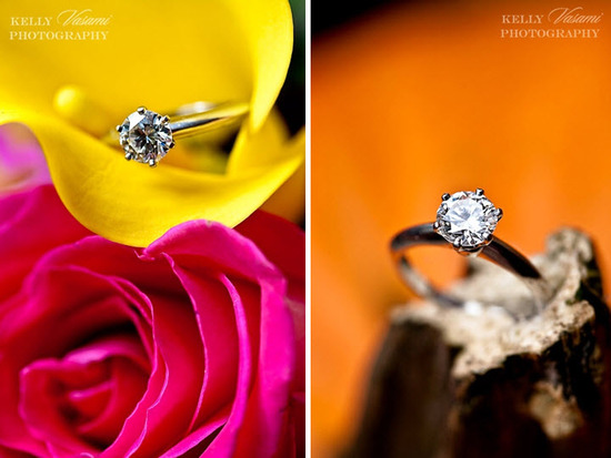 Round diamond engagement ring shot on bright yellow and pink roses