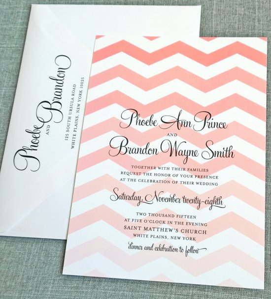 Phoebe Coral Chevron Wedding Invitation