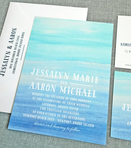 Jessalyn Blue Watercolor Beach Wedding Invitation