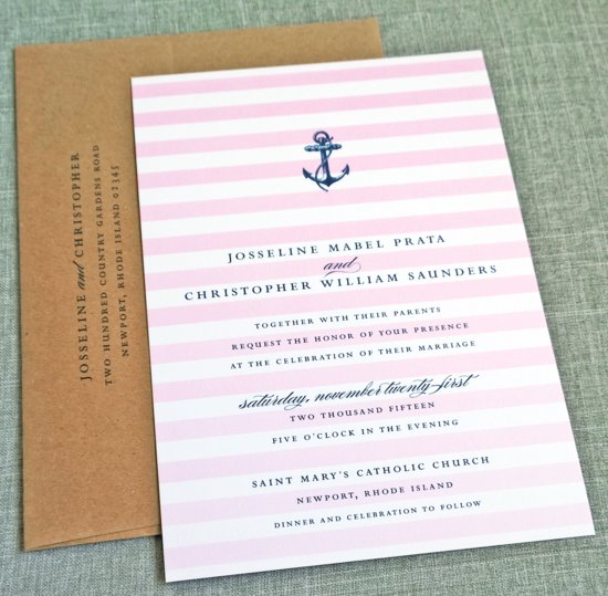 Josseline Pink Ombre Striped Nautical Wedding Invitation