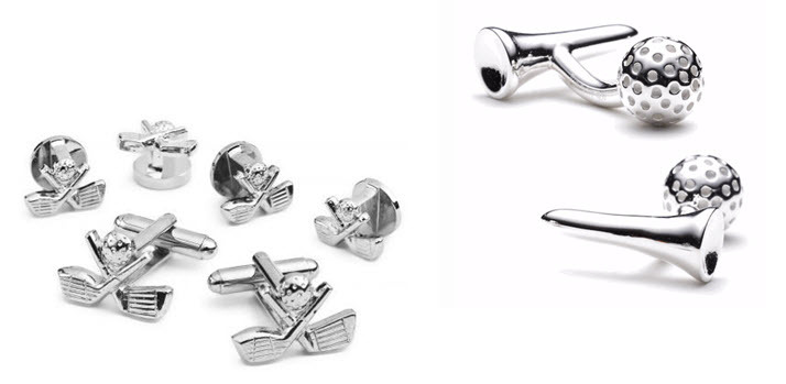 Silver golf-inspired cuff links- the perfect wedding day gift for your golf-loving groom
