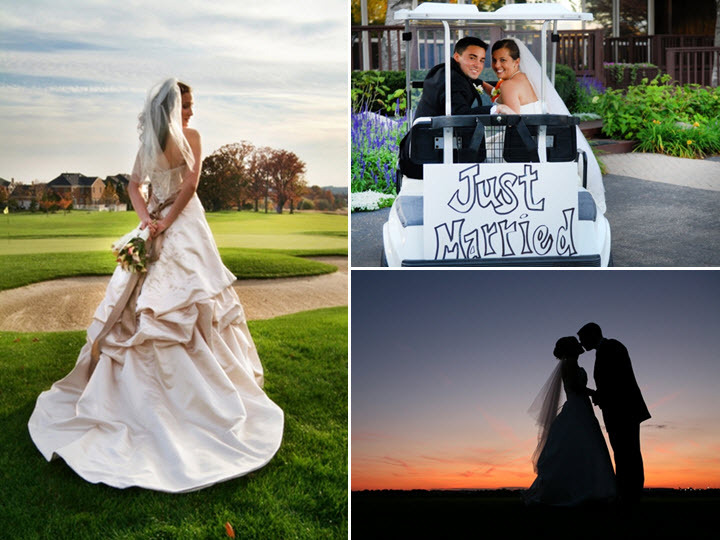 Bride stands on 9th hole, poses in wedding dress; bride and groom ride off on golf cart with Just Ma