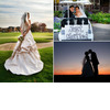 Bride-poses-on-golf-course-in-wedding-dress-couple-rides-away-in-golf-cart-just-married-sign-on-back.square