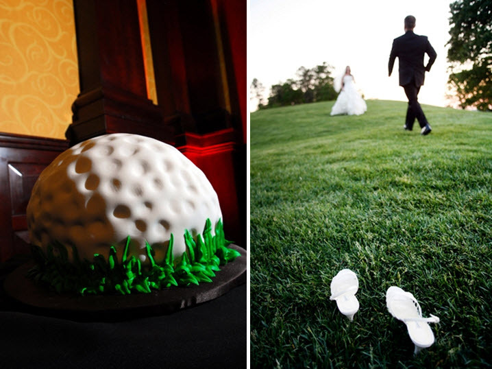 Grooms-wedding-cake-wedding-reception-golf-ball-green-bride-groom-play-on-golf-course-in-wedding-dress-and-tux.full