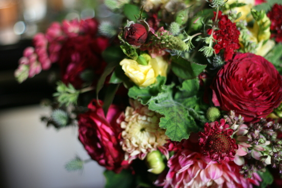 Bride's bouquet in raspberry, butter yellow, rose pink and greens