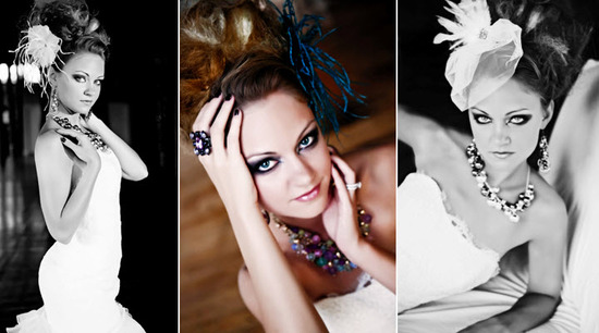 Edgy bride with strapless wedding dress, high bridal updo, poses for bridal shoot